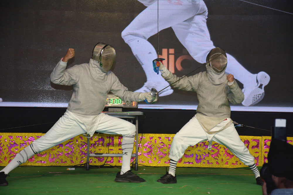 """LIVE DISPLAY OF FENCING SHOWCASING THE KEY SKILLS OF SPORTSMEN-AGILITY & ALERTNESS"""" (AGS,Gurgaon is the first amongst Amity schools to introduce fencing)."""