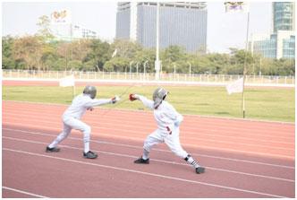 Dexterous in fencing, skilled in sportsmanship