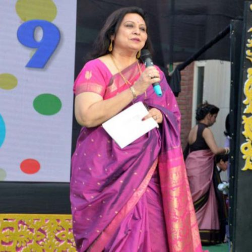 Principal, Mrs, Arti Gupta, sharing the school's Annual Report.