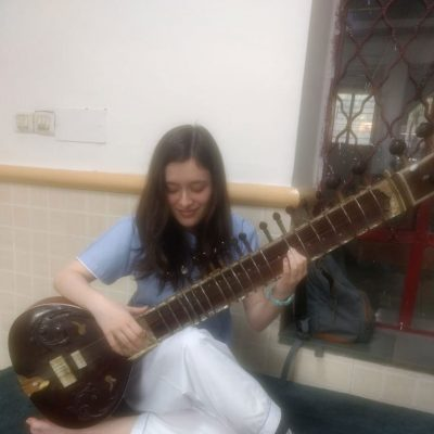 SITAR PRACTICE BY  AN INTERNATIONAL STUDENT